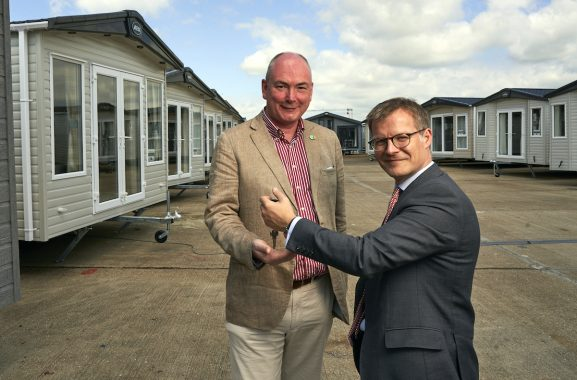 Mother Ivey's Bay Holiday Park owner, Patrick Langmaid, and ABI CEO, Richard Jone