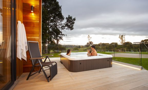 Guests can also stay in stay in five-star glamping lodges with pampering touches such as private hot tubs